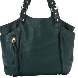 Kooba Logan Green Leather Tote / Shoulder Bag